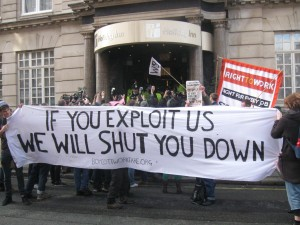Holiday Inn, workfare profiteers, blockaded by police