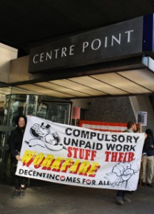 Workfare banner outside conference venue. Photo: Howard Jones
