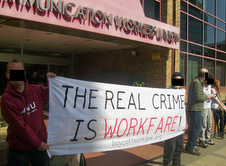Workfare picket outside CWU headquarters