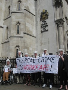 Boycott Workfare supports Cait outside the court