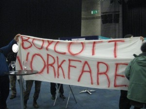 ON Tuesday, A boycott Workfare delegation paid a short but vocal visit to the Welfare to Work workfare industry convention. More on this soon!
