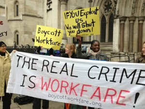 Campaigners celebrated a significant victory against workfare outside the High Court today