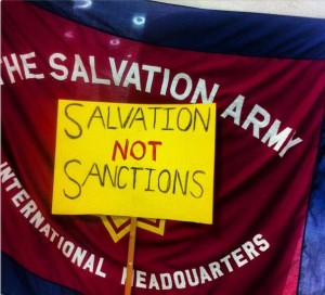 Salvation Army International and UK HQs were paid a surprise visit to launch the week of action. [Photo: Sinister Pics]