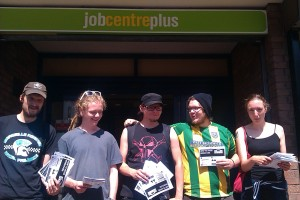 'How to Avoid Workfare' leafleting in Bristol