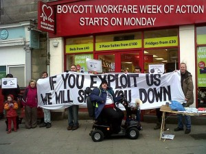 Edinburgh Coalition Against Poverty at one of their many workfare blockades!
