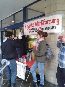 tea and leaflets outside cardiff job centre