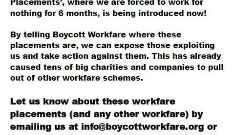 Image for Leaflet to help shut down new workfare scheme