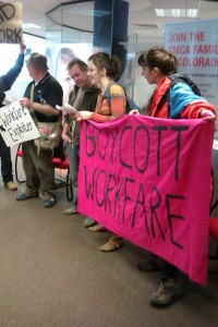 Boycott Workfare inside YMCA HQ