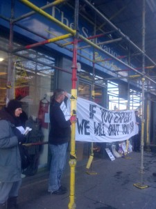Four Salvation Army shops blockaded in one day by Edinburgh Coalition Against Poverty!