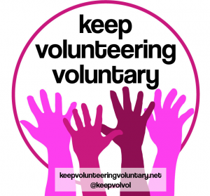 Logo of Keep Volunteering Voluntary campaign - hands raised