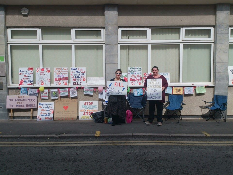 lots of placards outside job centre