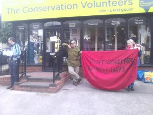On Saturday, this demo in Sheffield persuaded tens of people to boycott workfare users TCV.