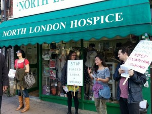 Pickets and protests meant North London Hospice promised to pull out of workfare. But  they still have 50 placements and have taken on at least one new placement too!