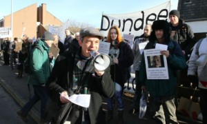 Solidarity protest at Arbroath Job Centre to support Tony Cox and affirm claimants' right to be accompanied